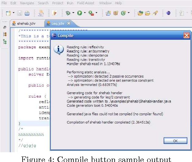 Figure 4: Compile button sample output