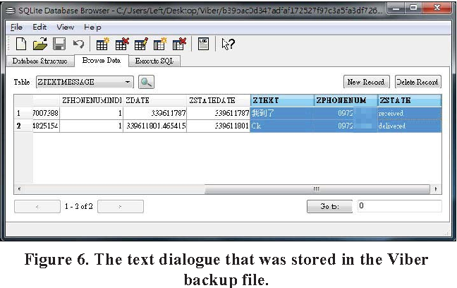 Figure 6. The text dialogue that was stored in the Viber backup file.