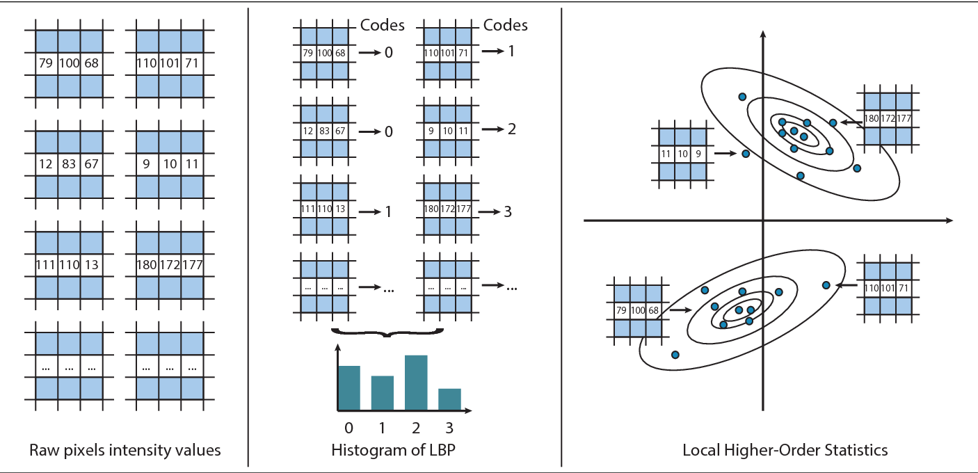 Figure 1 for Local Higher-Order Statistics (LHS) describing images with statistics of local non-binarized pixel patterns