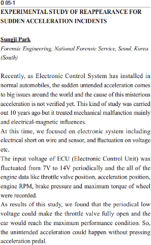 Figure 5. Abstract of an oral presentation at the World Forensic Festival 2014 meeting in Seoul, Korea on October 12-18, 2014