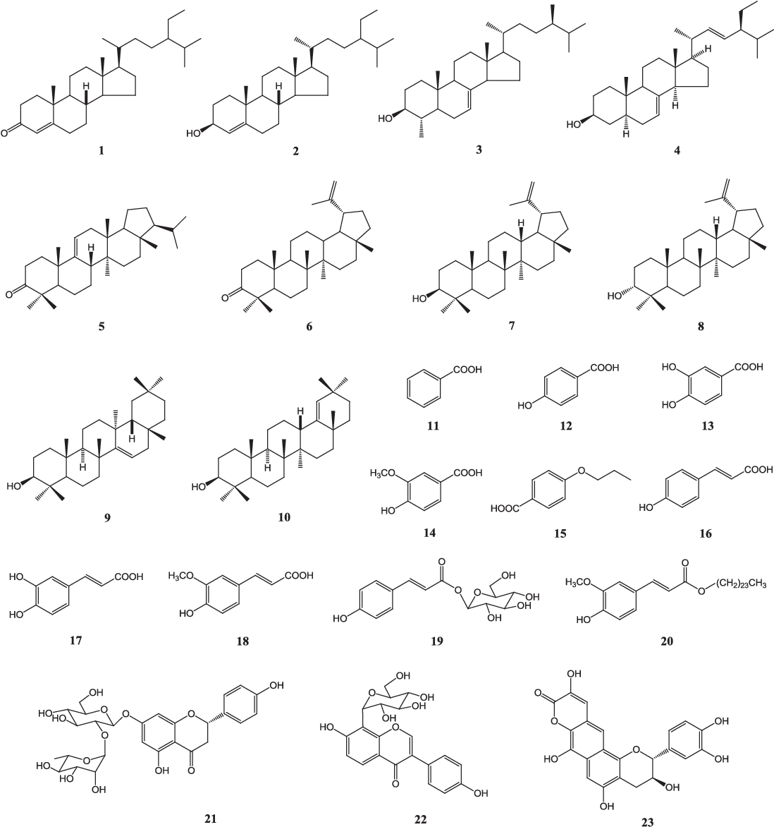 Figure 1. Chemical structures of compounds 1–23 isolated from the cor