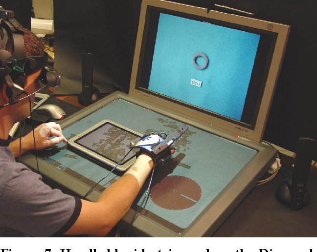 Figure 7. Handheld widget is used on the DiamondTouch table to show high-resolution version of the portion of the 2D map that it covers.