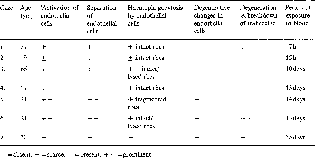 Table 2. Morphological features in the endogenous cells and the trabeculae following hyphaema