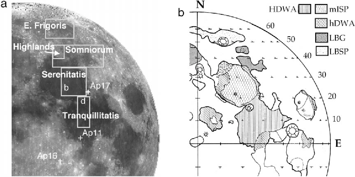 FIG. 1. (a) The eastern near-side of the Moon as seen in a Clementine 0.75-µm USGS global mosaic showing the location of several nearside maria and Apollo landing sites. The general locations of each study region discussed in the text are outlined with rectangles. The location of Dawes crater (18 km) in Mare