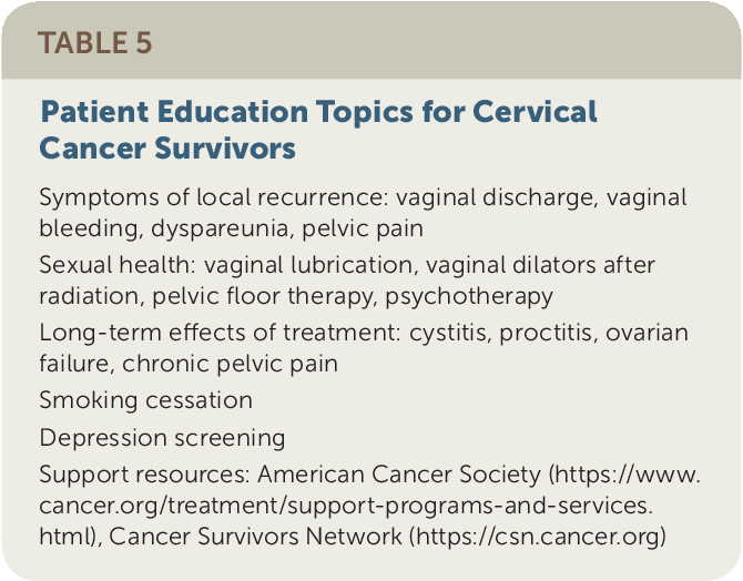 Table 5 from Cervical Cancer: Evaluation and Management  - Semantic