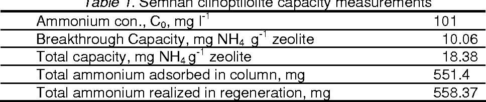 Table 1. Semnan clinoptilolite capacity measurements