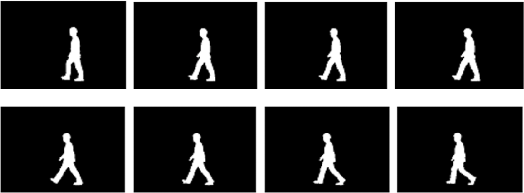 Fig. 5. Temporal changes of moving silhouette in a gait pattern (Frame 28–Frame 35).
