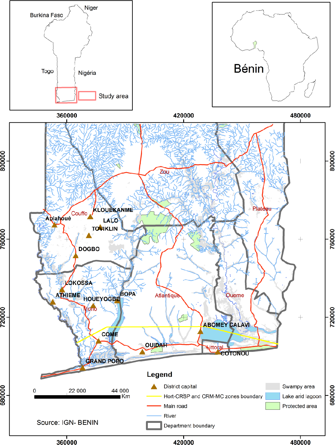 Figure 1. Location of the two survey sites in southern Benin (Cotonou and Abomey Calavi).