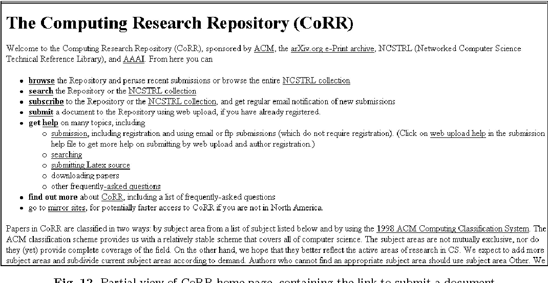 Fig. 12. Partial view of CoRR home page, containing the link to submit a document