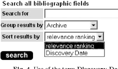 Fig. 4. Use of the term Discovery Date in a simple search menu