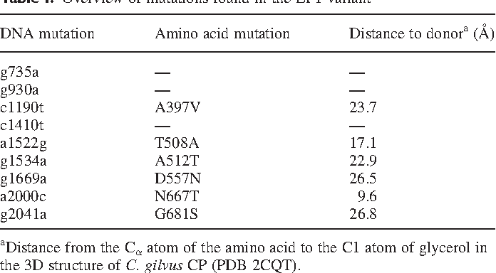 Table I. Overview of mutations found in the LP1 variant