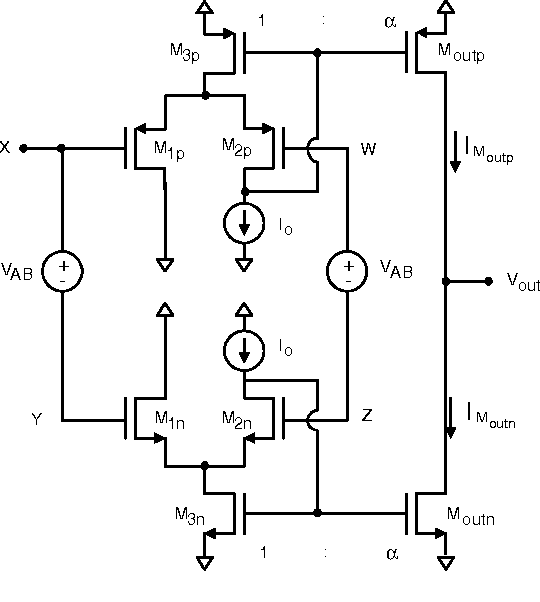 Class AB output stages for low voltage CMOS opamps with accurate