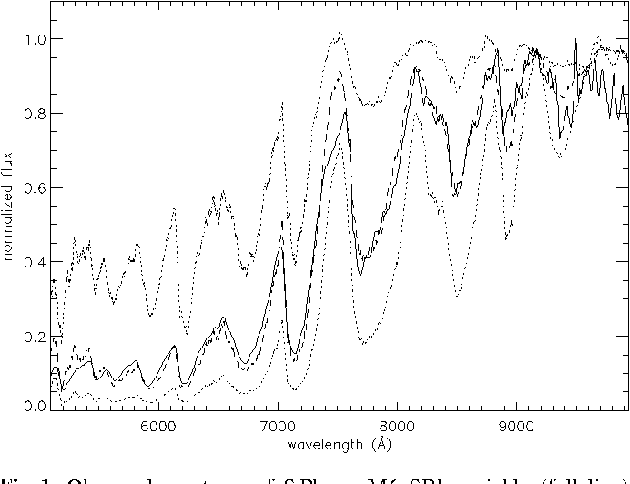 Fig. 1. Observed spectrum of S Phe, a M6 SRb variable (full line) and synthetic spectrum with Teff=3400 K, log g=1.0 and M=1.0 M (dashed line). The dotted lines are two synthetic spectra with Teff=3200 K and 3600 K