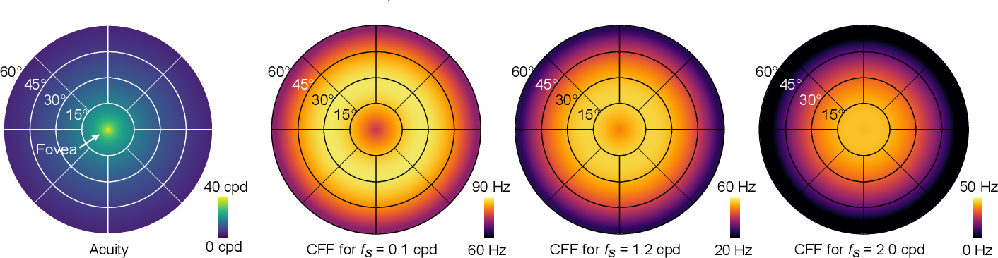 Figure 1 for A Perceptual Model for Eccentricity-dependent Spatio-temporal Flicker Fusion and its Applications to Foveated Graphics
