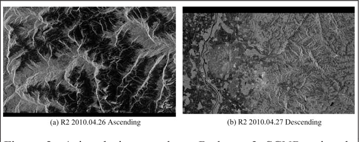 Figure 3. Azimuth image edges, Radarsat-2 SCNB azimuth timing annotation offset. Extracts at early azimuth (VH).