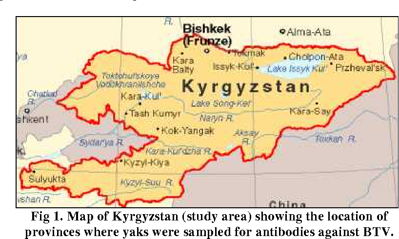 Figure 1 from detection of antibodies against blue tongue virus in map of kyrgyzstan study area showing the location of provinces where gumiabroncs Choice Image