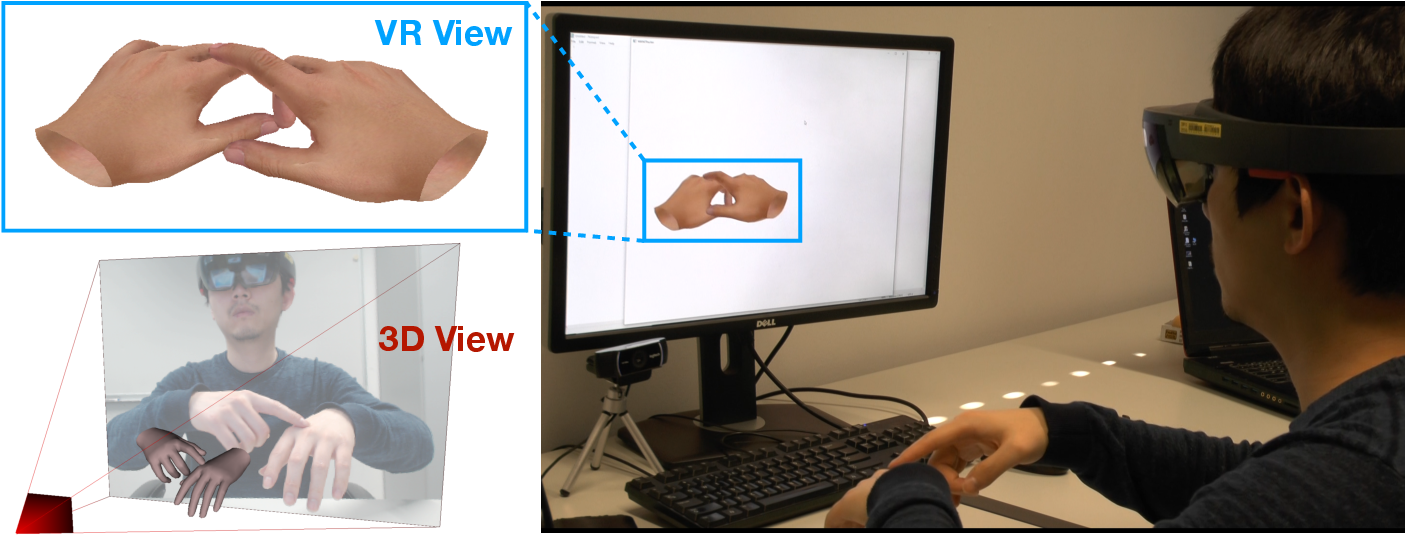 Figure 1 for RGB2Hands: Real-Time Tracking of 3D Hand Interactions from Monocular RGB Video