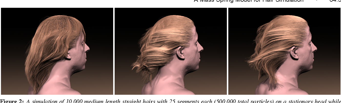Figure 2: A simulation of 10,000 medium length straight hairs with 25 segments each (500,000 total particles) on a stationary head while interacting with wind.