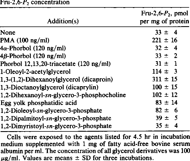 Table 1. Effect of phorbol analogues and glycerol derivatives on Fru-2,6-P2 concentration