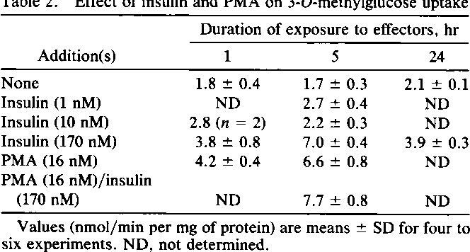 Table 2. Effect of insulin and PMA on 3-O-methylglucose uptake