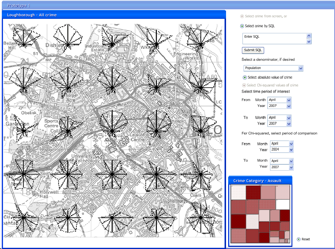Figure 5.7: Early design for a 100m2 wireframe showing temporal glyphs and crime treemap (map ©Crown Copyright/database right 2008. An Ordnance Survey/EDINA supplied service).