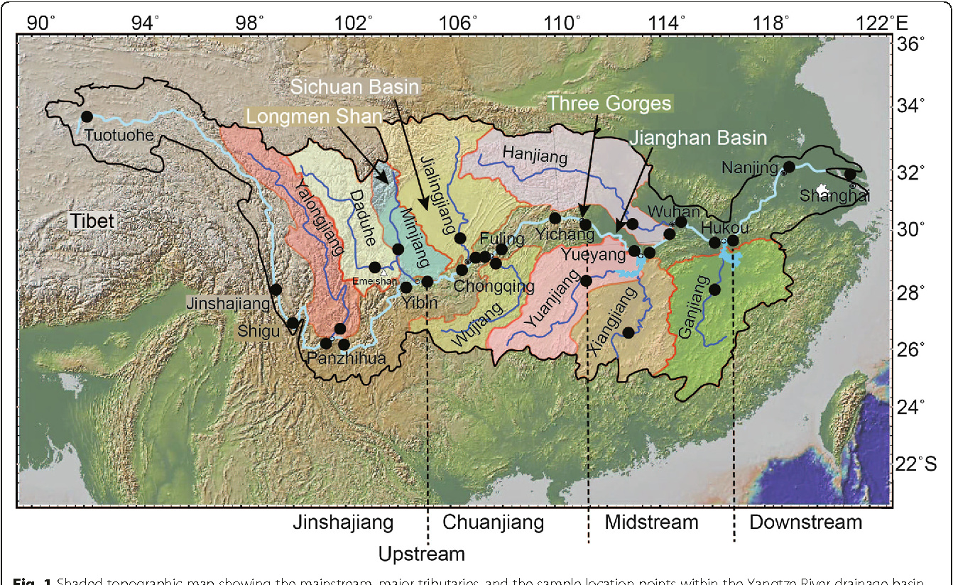 Map Of East Asia Yangtze River.Geochemistry Of Fine Grained Sediments In The Yangtze River And The