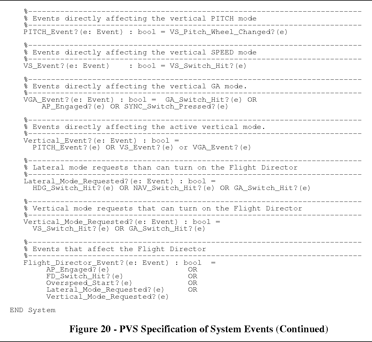Figure 20 - PVS Specification of System Events (Continued)