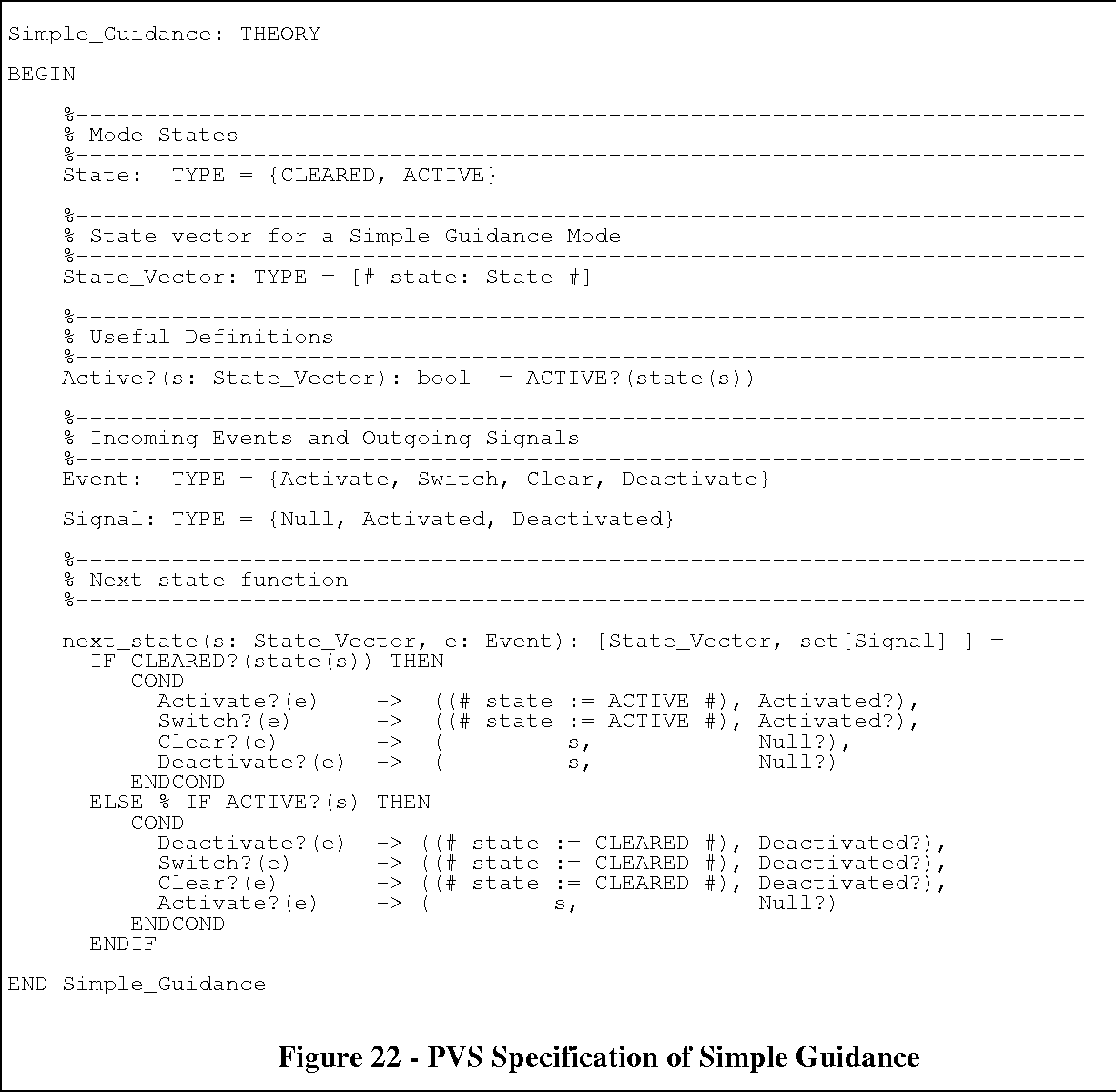 Figure 22 - PVS Specification of Simple Guidance