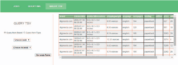 Fig 4. Batch job output – table format