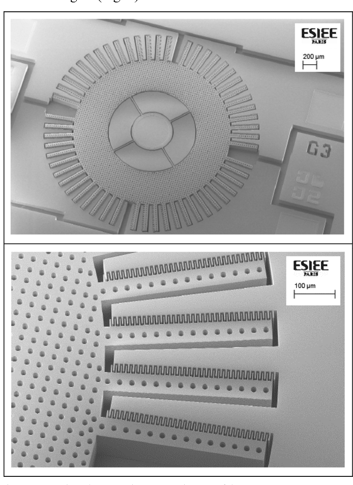 Fig. 2. Scanning electron microscope pictures of the R-MEMS. Top: Overall view. Bottom: Zoom on finger combs.