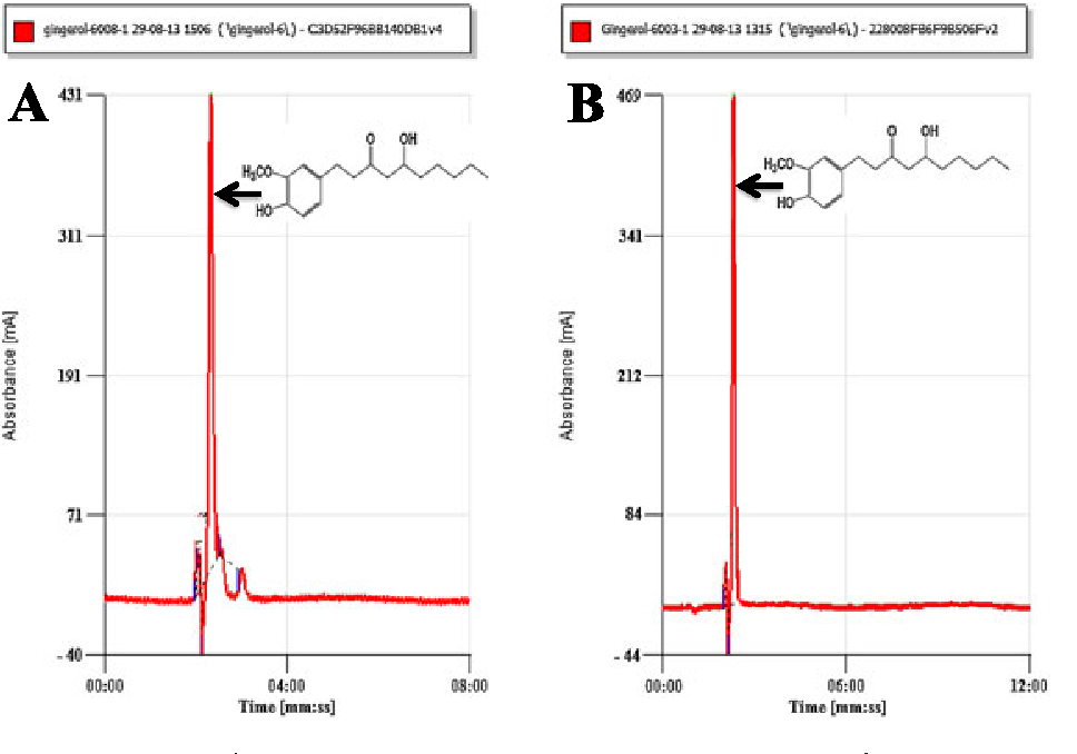 Figure 1. HPLC chromatogram of isolated 6-gingerol from rhizomes of Z (B). This figure is available in colour online at wileyonlinelibrary.com/jour