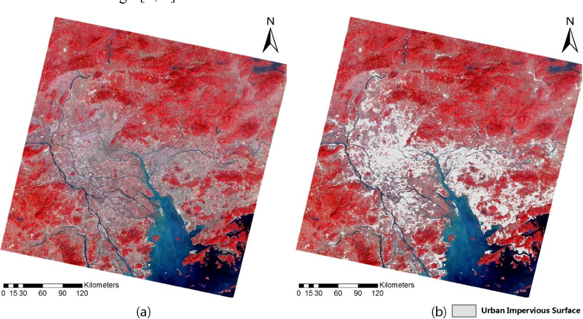 Figure 1 for Extracting urban impervious surface from GF-1 imagery using one-class classifiers