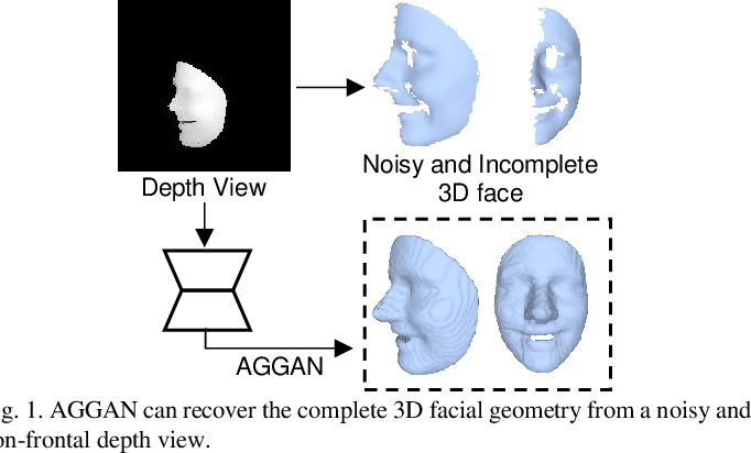 Figure 1 for 3D Facial Geometry Recovery from a Depth View with Attention Guided Generative Adversarial Network