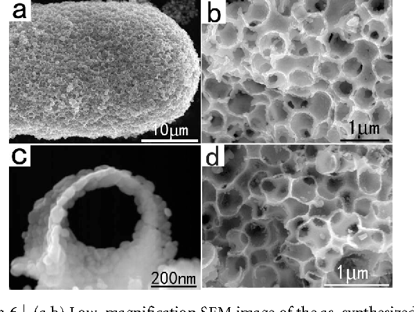Figure 6 | (a,b) Low–magnification SEM image of the as–synthesized 3D HMM WO3 networks. (c) High-magnification SEM image of the WO3 networks. (d) SEM images of the HMM TiO2/WO3 networks.