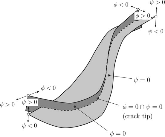Fig. 1. Level set method: two level sets / and w defining the crack location, i.e. the crack surface characterized by / 6 0 \ w = 0, and the crack-tip characterized by / = 0 \ w = 0.