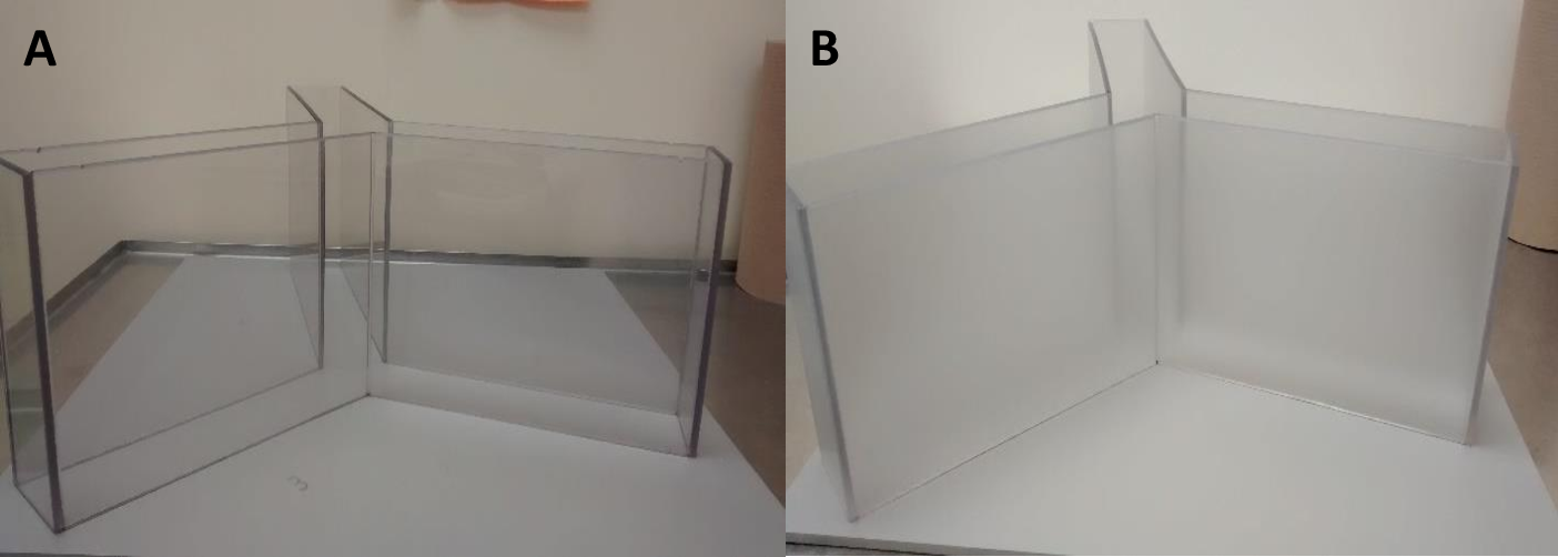 Figure 12 (A) Picture of the transparent Y-maze that was used. (B) Picture of the translucent Ymaze that was used.