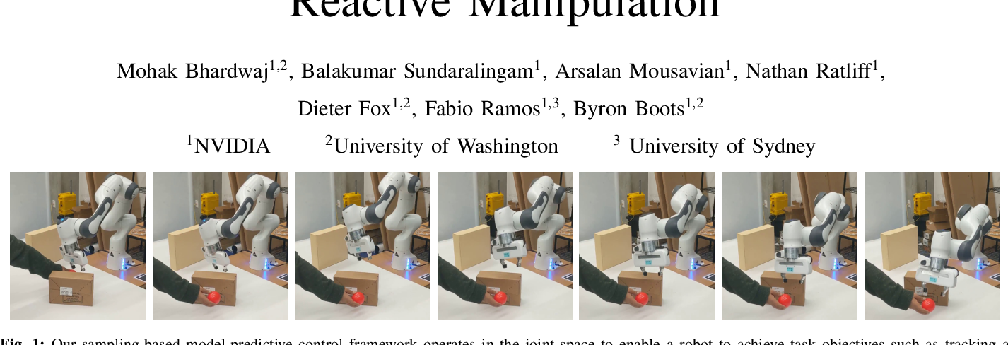 Figure 1 for Fast Joint Space Model-Predictive Control for Reactive Manipulation