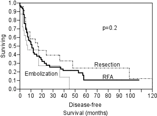 Fig 2. Kaplan-Meier curve illustrating disease-free survival based on the treatment modality. RFA, Radiofrequency ablation.
