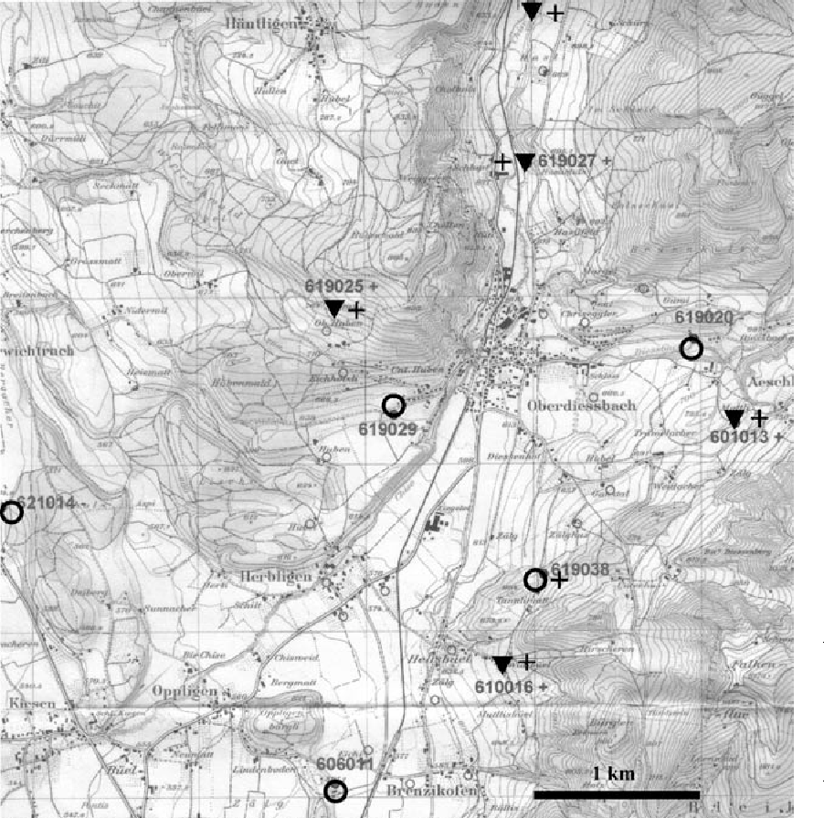 Figure 1. Map over the area in Switzerland where sampling of 10 out of 12 apiaries was made. The two remaining healthy apiaries in the study are situated in another area (EFB-free). Five apiaries showed clinical symptoms of EFB (inverted filled triangles), and five apiaries without signs of disease (open circles). + indicates findings of M. plutonius by PCR.