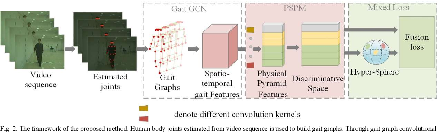 Figure 1 for A model-based Gait Recognition Method based on Gait Graph Convolutional Networks and Joints Relationship Pyramid Mapping