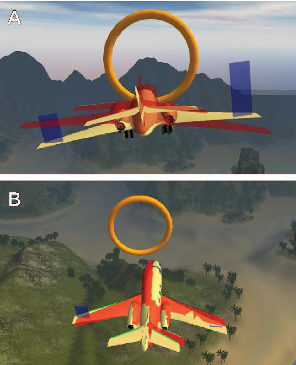 Fig. 4. Virtual flight simulator enviroment. A) Vertical movement and elbow extention; B) Horizontal movement