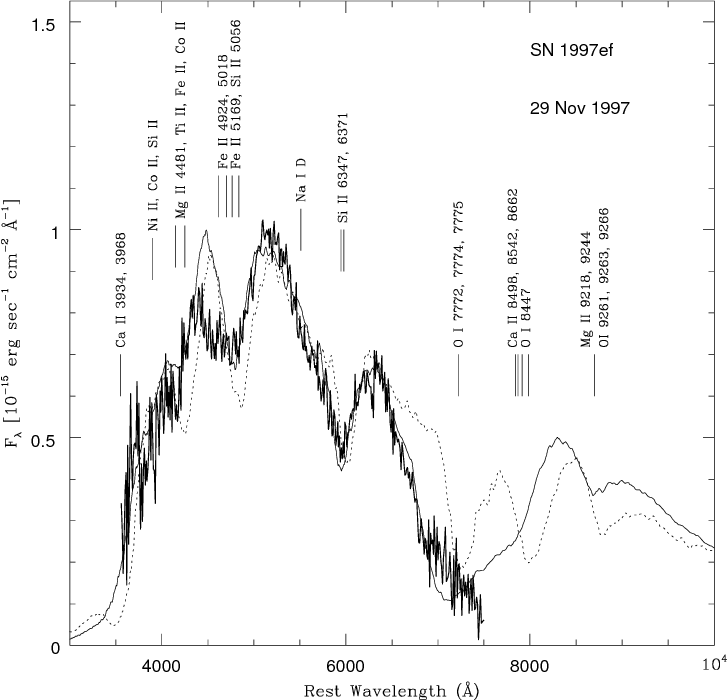 Fig. 11. The spectrum of the hyperenergetic Type Ic SN 1997ef about 11 days before maximum brightness(thick line) is compared with two synthetic spectra calculated with the ML MONTE CARLO code. The thin solid line and the dotted line are for models having kinetic energies of 8× 1051 and 1.75 × 1052 erg, respectively. (From [94])