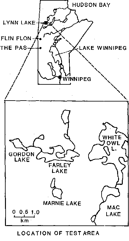 Fig. 2. Location map of the test area in northern Manitoba, Canada