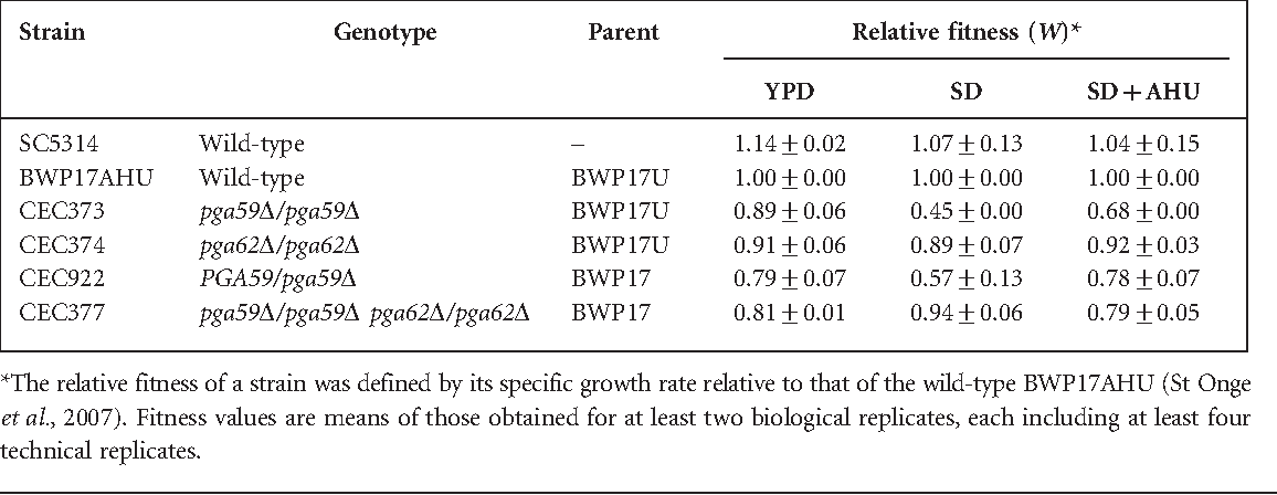Table 3. Relative fitness of pga59 and pga62 deletion strains