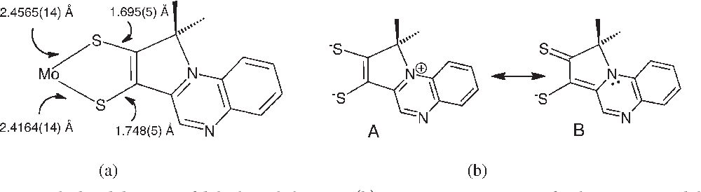 Figure 15. (a) Asymmetry in the bond distances of dithiolene chelate in 4. (b) Key resonance structures for the asymmetric dithiolene in 4.