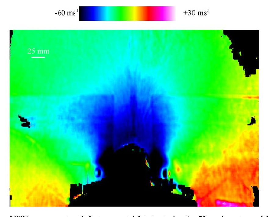 Figure 10. Frame-averaged PDV measurements with the top-mounted detector at a location 76 mm downstream of the wing/strake junction. The measured velocity component is in the (−0.253i, 0.0j, 0.968k) direction. The wing surface corresponds to the bottom of the image, and the view is full span.