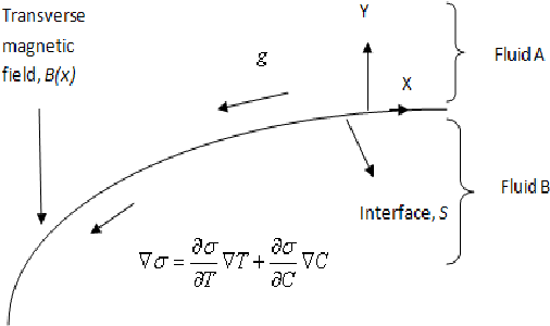 Fig. 1 Flow model in coordinate system with interface condition