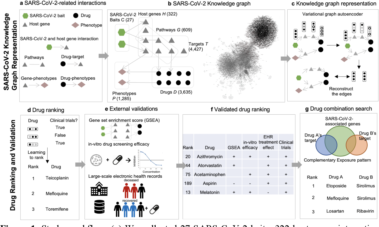 Figure 1 for Drug Repurposing for COVID-19 using Graph Neural Network with Genetic, Mechanistic, and Epidemiological Validation