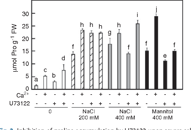 Fig. 3 Inhibition of proline accumulation by U73122 upon severe salt or mannitol stress can be reversed by extracellular calcium. Seedlings were prepared as described in the legend to Fig. 1. After 1 h pre-incubation with either 100mM U73122, 10 mM CaCl2, or a combination of U73122 and CaCl2, seedlings were treated with or without 200 mM NaCl, 400 NaCl or 400 mM mannitol together with drug/calcium combinations for 24 h. Means with the same letter do not differ significantly at P< 0.05 (n = 3 ± SD).