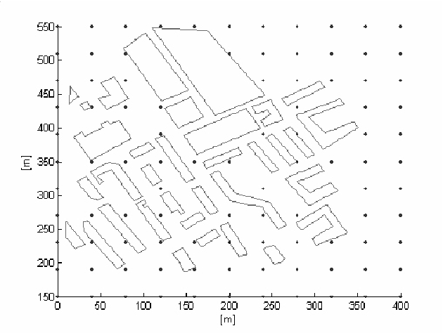 figure 1 from optimization of propagation prediction hybrid model Performance Network Diagram figure 1 grid of the deterministic points having a distance of 40 m of a